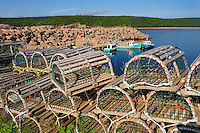 Lobster traps on Cabot Trail<br /> Neils Harbour<br /> Nova Scotia<br /> Canada