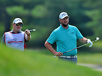 Potomac, MD - June 29, 2017: Marc Leishman and his caddy discuss options at the 18th hole during Round 1 of professional play at the Quicken Loans National Tournament at TPC Potomac at Avenel Farm in Potomac, MD, June 29, 2017.  (Photo by Don Baxter/Media Images International)