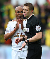 Andre Ayew of Swansea City appeals to referee Craig Pawson after not being awarded a penalty during the Barclays Premier League match between Swansea City and Norwich City played at The Liberty Stadium, Swansea on March 5th 2016