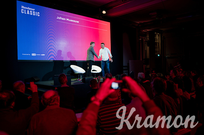 "Matt Stevens welcoming Johan Museeuw on stage<br /> <br /> Rouleur Classic London 2019<br /> ""The World's Finest Road Cycling Exhibition""<br /> <br /> ©kramon"