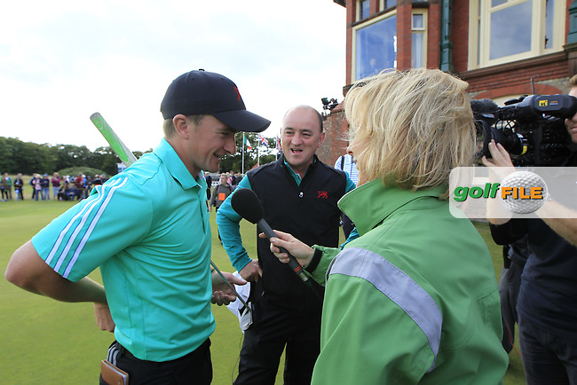 Paul Dunne (IRL), Nigel Edwards (GB&amp;Ireland team captain) after the winning half point during the afternoon singles for the Walker cup Royal Lytham St Annes, Lytham St Annes, Lancashire, England. 13/09/2015<br /> Picture Golffile | Fran Caffrey<br /> <br /> <br /> All photo usage must carry mandatory copyright credit (&copy; Golffile | Fran Caffrey)