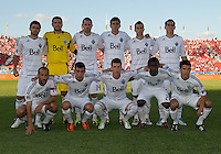 Vancouver Whitecaps FC starting eleven during an MLS game between the Vancouver Whitecaps and the Toronto FC at BMO Field in Toronto on June 29, 2011..