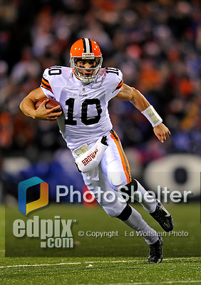 17 November 2008:  Cleveland Browns' quarterback Brady Quinn scrambles for a 12 yard gain in the first quarter against the Buffalo Bills at Ralph Wilson Stadium in Orchard Park, NY. The Browns defeated the Bills 29-27 in the Monday Night AFC matchup. *** Editorial Sales Only ****..Mandatory Photo Credit: Ed Wolfstein Photo