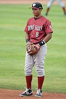 Idaho Falls Chukars second baseman Carlos Garcia #8 on defense against the Ogden Raptors at Lindquist Field on June 23, 2013 in Ogden, Utah. (Stephen Smith/Four Seam Images)
