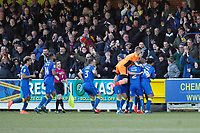GOAL - Joe Pigott of AFC Wimbledon wins the match with his goal during the Sky Bet League 1 match between AFC Wimbledon and Bristol Rovers at the Cherry Red Records Stadium, Kingston, England on 17 February 2018. Photo by Carlton Myrie.