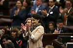 Nevada Gov. Steve Sisolak chief of staff Michelle White applauds during the State of the State address in Carson City, Nev., on Wednesday, Jan. 16, 2019. <br /> Photo by Cathleen Allison/Nevada Momentum