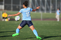 Piscataway, NJ, April 24, 2016.  Midfielder Raquel Rodriguez (11) of Sky Blue FC chests the ball down.  The Washington Spirit defeated Sky Blue FC 2-1 during a National Women's Soccer League (NWSL) match at Yurcak Field.