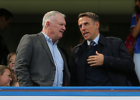England Women's Team Manager, Phil Neville chats with Greg Clarke from the FA ahead of kick-off during Chelsea Women vs Tottenham Hotspur Women, Barclays FA Women's Super League Football at Stamford Bridge on 8th September 2019