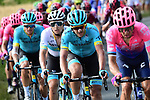 The peloton in action during Stage 8 of the 2019 Tour de France running 200km from Macon to Saint-Etienne, France. 13th July 2019.<br /> Picture: ASO/Alex Broadway | Cyclefile<br /> All photos usage must carry mandatory copyright credit (© Cyclefile | ASO/Alex Broadway)