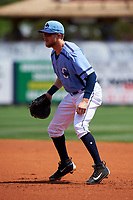 Charlotte Stone Crabs first baseman Dalton Kelly (7) during a game against the Lakeland Flying Tigers on April 16, 2017 at Charlotte Sports Park in Port Charlotte, Florida.  Lakeland defeated Charlotte 4-2.  (Mike Janes/Four Seam Images)