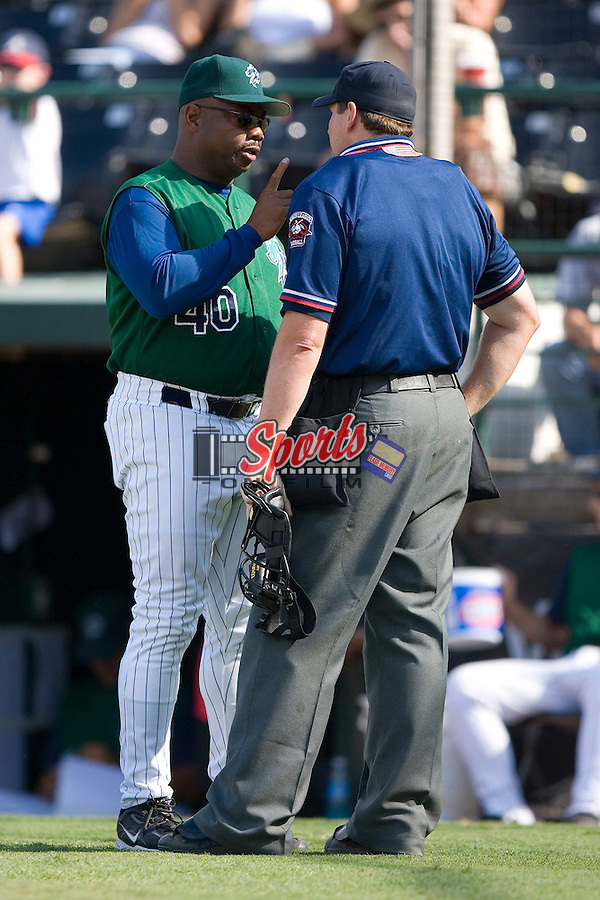 Charlotte Knights manager Razor Shines has a few last minute words with home plate umpire Kevin Causey after being ejected in the 9th inning of a 9-6 loss to the Indianapolis Indians at Knights Stadium in Fort Mill, SC, Sunday, August 13, 2006.