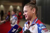 September 14, 2018 - Sofia, Bulgaria - ALEKSANDRA SOLDATOVA of Russia, press interview after AA final at 2018 World Championships.