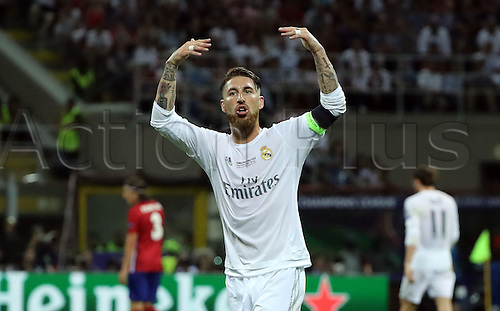 28.05.2016. Milan, Italy.  Sergio Ramos of Real Madrid celebrates after scoring the opening goal during the UEFA Champions League Final between Real Madrid and Atletico Madrid at the Stadio Giuseppe Meazza in Milan, Italy, 28 May 2016.
