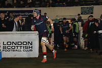Matt Eliet of London Scottish during the Greene King IPA Championship match between London Scottish Football Club and Jersey Reds at Richmond Athletic Ground, Richmond, United Kingdom on 16 March 2018. Photo by David Horn.
