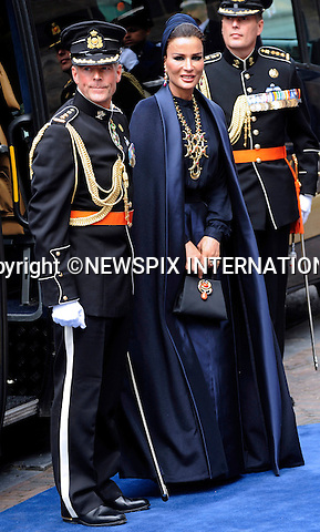 """30.04.2013; Amsterdam: KING WILLEM-ALEXANDER INAUGURATION.SHEIKHA MOZAH OF QATAR.attend King Willem-Alexander's inauguration at Nieuwe Kerk, Amsterdam, The Netherlands, .Mandatory Credit Photos: ©NEWSPIX INTERNATIONAL..**ALL FEES PAYABLE TO: """"NEWSPIX INTERNATIONAL""""**..PHOTO CREDIT MANDATORY!!: NEWSPIX INTERNATIONAL(Failure to credit will incur a surcharge of 100% of reproduction fees)..IMMEDIATE CONFIRMATION OF USAGE REQUIRED:.Newspix International, 31 Chinnery Hill, Bishop's Stortford, ENGLAND CM23 3PS.Tel:+441279 324672  ; Fax: +441279656877.Mobile:  0777568 1153.e-mail: info@newspixinternational.co.uk"""
