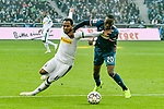 04.11.2018, Stadion im Borussia-Park, Moenchengladbach, GER, 1. FBL, Borussia Moenchengladbach vs. Fortuna Duesseldorf, DFL regulations prohibit any use of photographs as image sequences and/or quasi-video<br /> <br /> im Bild Dodi Lukebakio (#20, Fortuna D&uuml;sseldorf / Duesseldorf) foult Raffael (#11, Borussia M?nchengladbach / Moenchengladbach) <br /> <br /> Foto &copy; nordphoto/Mauelshagen