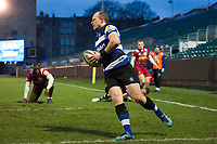 Jack Wilson of Bath United runs in a first half try. Aviva A-League match, between Bath United and Harlequins A on March 26, 2018 at the Recreation Ground in Bath, England. Photo by: Patrick Khachfe / Onside Images