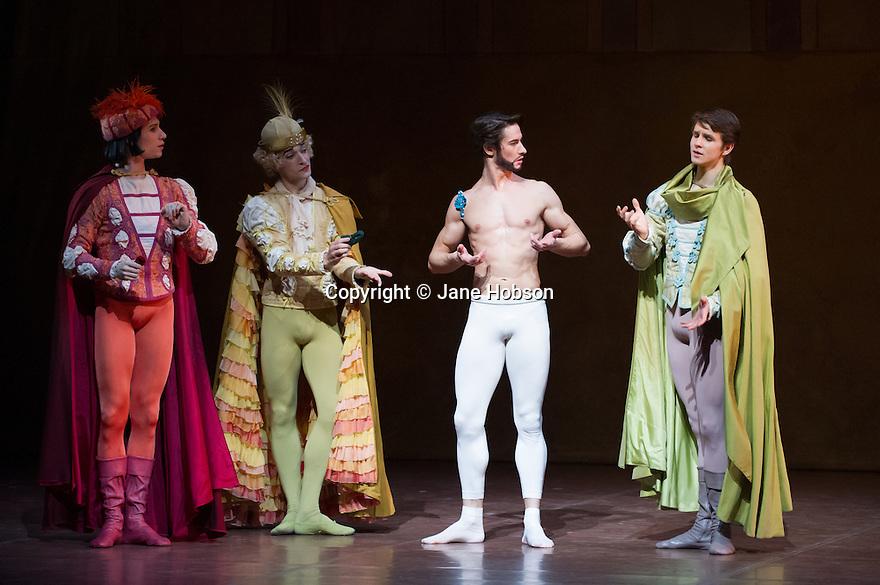 London, UK. 22.11.2013. Stuttgart Ballet present THE TAMING OF THE SHREW at Sadler's Wells. Picture shows: Roman Novitsky (Hortensio), Ozkan Ayik (Gremio), Alexander Jones (Petruchio) and David Moore (Lucentio). Photograph © Jane Hobson.