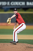 Louisville Cardinals starting pitcher Shay Smiddy (5) in action against the Wake Forest Demon Deacons at David F. Couch Ballpark on March 17, 2018 in  Winston-Salem, North Carolina.  The Cardinals defeated the Demon Deacons 11-6.  (Brian Westerholt/Four Seam Images)
