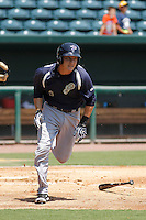 Pensacola Blue Wahoos infielder Zach Vincej (3) in action during a game against the Jacksonville Suns at Bragan Field on the Baseball Grounds of Jacksonville on May 11, 2015 in Jacksonville, Florida. Jacksonville defeated Pensacola 5-4. (Robert Gurganus/Four Seam Images)
