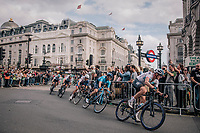 Ian Stannard (GBR/SKY) turning into Regent street<br /> <br /> Stage 8: London to London (77km)<br /> 15th Ovo Energy Tour of Britain 2018