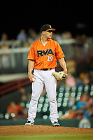 Richmond Flying Squirrels relief pitcher Caleb Simpson (29) looks in for the sign during a game against the Trenton Thunder on May 11, 2018 at The Diamond in Richmond, Virginia.  Richmond defeated Trenton 6-1.  (Mike Janes/Four Seam Images)