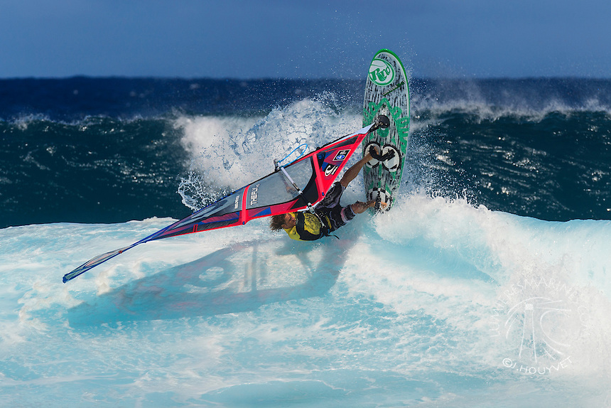 Fabrice Beaux at the 6th and final stop of the 2012 American Windsurfing Tour (AWT), in Ho'okipa Beach Park (Maui, Hawaii, USA)