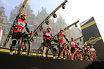 Trek-Segafredo on stage at the team presentation in Antwerp before the start of the 2019 Ronde Van Vlaanderen 270km from Antwerp to Oudenaarde, Belgium. 7th April 2019.<br /> Picture: Eoin Clarke | Cyclefile<br /> <br /> All photos usage must carry mandatory copyright credit (&copy; Cyclefile | Eoin Clarke)