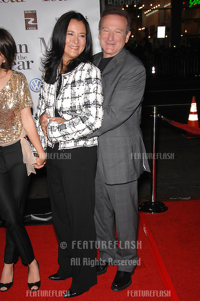 "Actor ROBIN WILLIAMS & wife MARSHA GARCES WILLIAMS at the world premiere of his new movie ""Man of the Year"" at the Grauman's Chinese Theatre, Hollywood..October 4, 2006  Los Angeles, CA.Picture: Paul Smith / Featureflash"