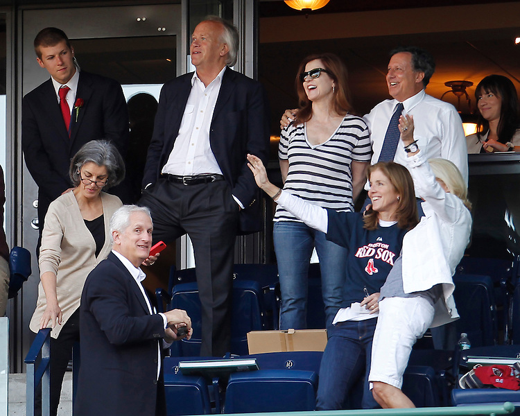 """BOSTON —The Boston Red Sox played the New York Yankees in the first of a three-game series on Friday, April 20, 2012. Caroline Kennedy enjoys """"Sweet Caroline"""" by Neil Diamond-a song that was written about her-during the game.  (Brita Meng Outzen/Boston Red Sox)"""