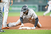 New York Yankees shortstop Didi Gregorius (18) slides into third on a play in the ninth inning during which he was thrown out at home attempting to score against the Baltimore Orioles at Oriole Park at Camden Yards in Baltimore, MD on Tuesday, May 30, 2017.  The Yankees won the game 8 - 3.<br /> Credit: Ron Sachs / CNP<br /> (RESTRICTION: NO New York or New Jersey Newspapers or newspapers within a 75 mile radius of New York City)