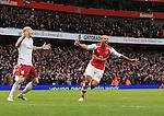 Arsenal's Theo Walcott celebrates scoring his sides third goal<br /> <br /> Barclays Premier League - Arsenal vs Aston Villa - Emirates Stadium  - England - 1st February 2015 - Picture David Klein/Sportimage
