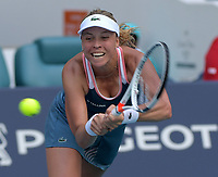 MIAMI GARDENS, FLORIDA - MARCH 26: Anett Kontaveit of Estonia defeats Su-Wei Hsieh of Taipei during the Miami Open tennis on March 26, 2019 in Miami Gardens, Florida<br /> <br /> <br /> People: Anett Kontaveit