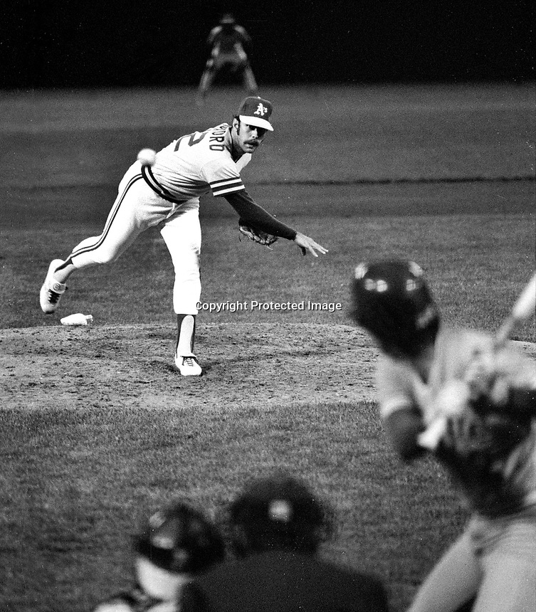 Oakland Athletics pitcher Rick Langford..(1977 photo/Ron Riesterer)