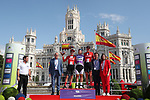 The final podium winner Lisa Brennauer (GER) WNT Rotor Pro Cycling Team, 2nd Lucinda Brand (NED) Team Sunweb and 3rd Pernille Mathiesen (DEN) Team Sunweb at the end of Stage 2 of the Ceratizit Madrid Challenge by La Vuelta 2019 running 98.6km around Madrid, Spain. 15th September 2019.<br /> Picture: Luis Angel Gomez/Photogomezsport | Cyclefile<br /> <br /> All photos usage must carry mandatory copyright credit (© Cyclefile | Luis Angel Gomez/Photogomezsport)