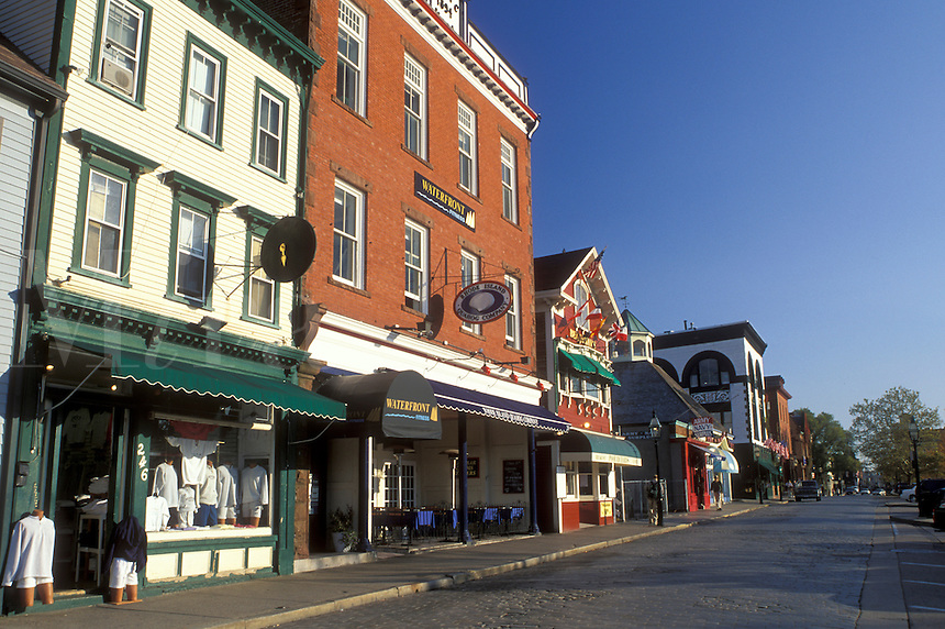 Newport, Rhode Island, RI, Shops along Thames Street in downtown Newport in the autumn.