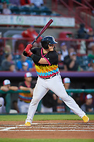 Erie Piñatas Kade Scivicque (20) at bat during an Eastern League game against the Las Ardillas Voladoras de Richmond on August 28, 2019 at UPMC Park in Erie, Pennsylvania.  Richmond defeated Erie 4-3 in the second game of a doubleheader.  (Mike Janes/Four Seam Images)