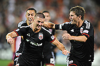 Washington D.C. - July 21, 2014: Perry Kitchen (23) of D.C. United celebrates his score with team mate Bobby Boswell (32)  D.C. United defeated the Chivas USA 3-1 during a Major League Soccer match for the 2014 season at RFK Stadium.