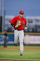 AZL Angels right fielder Francisco Del Valle (4) jogs to the dugout between innings during a game against the AZL Giants on July 10, 2017 at Scottsdale Stadium in Scottsdale, Arizona. AZL Giants defeated the AZL Angels 3-2. (Zachary Lucy/Four Seam Images)