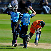 Cricket One Day International - Scotland V The Netherlands at Mannofield - Aberdeen - Scotland's Kyle Coetzer celebrates with wicket-keeper Gregor Maiden after bowling Netherlands batsman Neil Kruger - Picture by Donald MacLeod - 28.6.11 - 07702 319 738 - www.donald-macleod.com