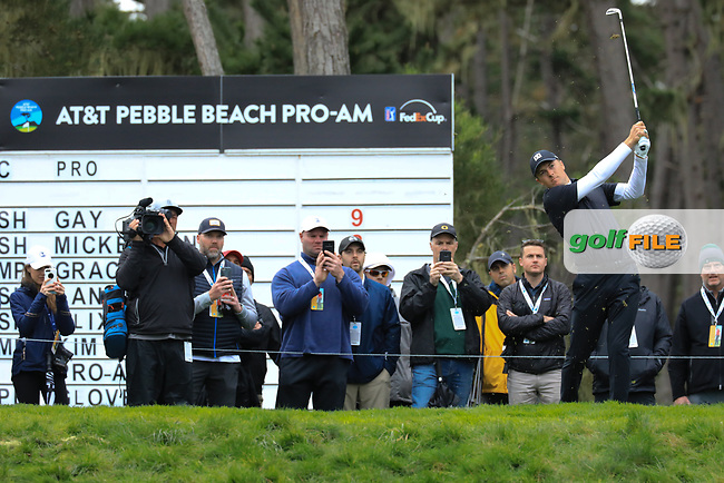 Jordan Spieth (USA) in action at Spyglass Hill Golf Course during the second round of the AT&T Pro-Am, Pebble Beach Golf Links, Monterey, USA. 08/02/2019<br /> Picture: Golffile | Phil Inglis<br /> <br /> <br /> All photo usage must carry mandatory copyright credit (© Golffile | Phil Inglis)