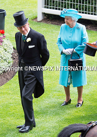19.06.2014;Ascot, England: ROYAL ASCOT 2014 LADIES DAY - QUEEN AND DUKE OF EDINBURGH<br /> The Queen, Duke of Edinburgh, Princes Andrew and Harry Prince Harry, Princesses Anne, Eugenie and Beatrice in attendance on the Ladies Day of the 4-day Royal Ascot Race Meeting.<br /> Mandatory Photo Credit: &copy;Francis Dias/NEWSPIX INTERNATIONAL<br /> <br /> **ALL FEES PAYABLE TO: &quot;NEWSPIX INTERNATIONAL&quot;**<br /> <br /> PHOTO CREDIT MANDATORY!!: NEWSPIX INTERNATIONAL(Failure to credit will incur a surcharge of 100% of reproduction fees)<br /> <br /> IMMEDIATE CONFIRMATION OF USAGE REQUIRED:<br /> Newspix International, 31 Chinnery Hill, Bishop's Stortford, ENGLAND CM23 3PS<br /> Tel:+441279 324672  ; Fax: +441279656877<br /> Mobile:  0777568 1153<br /> e-mail: info@newspixinternational.co.uk