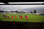 Clitheroe 0 Consett 1, 20/08/2016. Shawbridge, Northern Premier League Division One North. The visiting players going through their pre-match warm-up before Clitheroe played Consett at Shawbridge in an FA Cup preliminary round tie. Northern Premier League division one north team Clitheroe were formed in 1877 and have played at the same ground since 1925. Visitors Consett, from the Northern League division one, won the match 1-0, watched by 207 spectators. Photo by Colin McPherson.