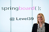 Claire Cockerton, Head of Innovation at Level39, Canary Wharf introduces a Springboard event: Tech start-ups rehearse pitching to potential investors.