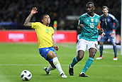 27th March 2018, Olympiastadion, Berlin, Germany; International Football Friendly, Germany versus Brazil; Antonio Rudiger (Germany) passed the ball before Gabriel Jésus (Brazil) can intercept