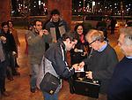 *** EXCLUSIVE Coverage ***.Woody Allen and his New Orleans Jazz Band performing at Placio De Los Congresos y De La Musica Euskalduna in Bilbao, Spain..( Woody signing autographs for fans ).December 29, 2004.© Walter McBride /