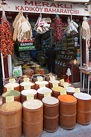 Spice, pulses dried goods for sale at food and spice market in Kadikoy district Asian side Istanbul, East Turkey