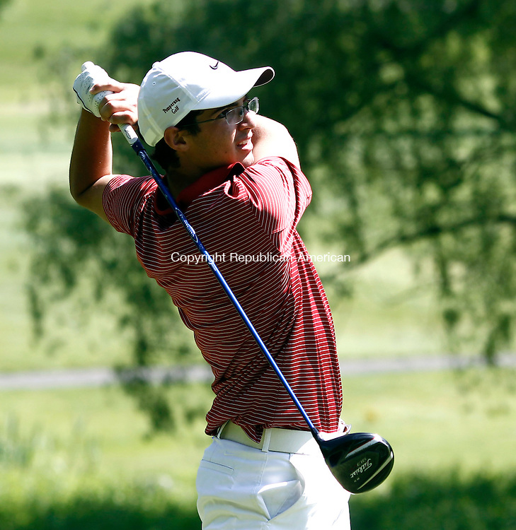 Danbury, CT- 30 May 2014-053014CM06-  Pomperaug's Michael VanDerLaan keeps his eyes on the ball during a tee off  at Ridgewood Country Club during the SWC golf championships in Danbury on Friday.   Christopher Massa Republican-American