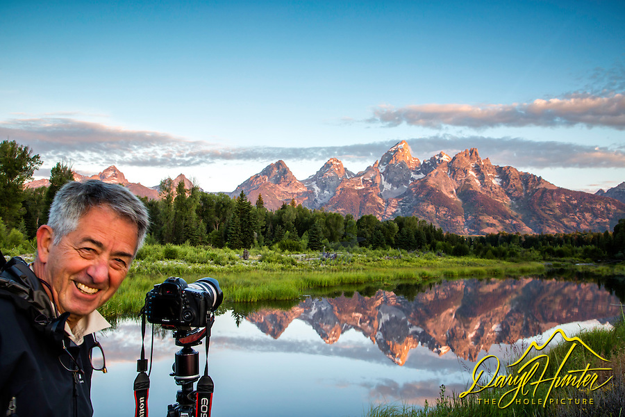 Photographer, Shwabacker Landing, sunrise, Jackson Hole, Wyoming