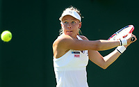 Johanna Larsson (SWE) in action during her first round match with Venus Williams (USA)<br /> <br /> Photographer Rob Newell/CameraSport<br /> <br /> Wimbledon Lawn Tennis Championships - Day 1 - Monday 2nd July 2018 -  All England Lawn Tennis and Croquet Club - Wimbledon - London - England<br /> <br /> World Copyright &not;&copy; 2017 CameraSport. All rights reserved. 43 Linden Ave. Countesthorpe. Leicester. England. LE8 5PG - Tel: +44 (0) 116 277 4147 - admin@camerasport.com - www.camerasport.com